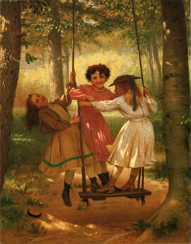Three Girls on a Swing 1868 | John George Brown | Oil Painting