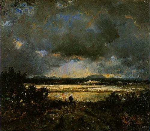 Sunset In The Auvergne 1830 | Pierre-Etienne-Theodore Rousseau | Oil Painting