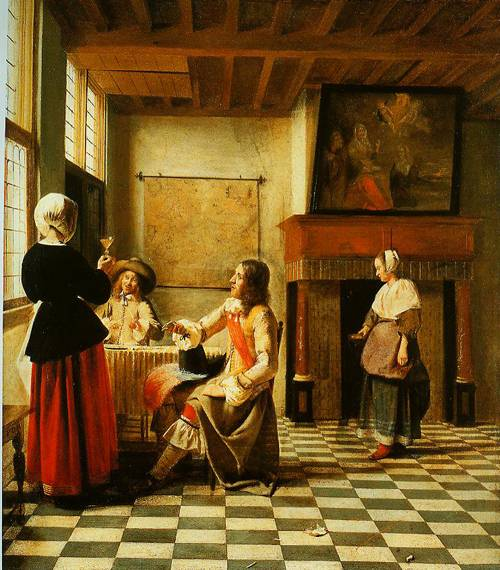 An Interior With A Woman Drinking With Two Man And A Maidservant 1658 | Pieter De Hooch | Oil Painting