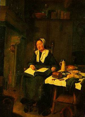 A Woman Asleep By A Fire 1648 | Quiringh Van Brekelenkam | Oil Painting