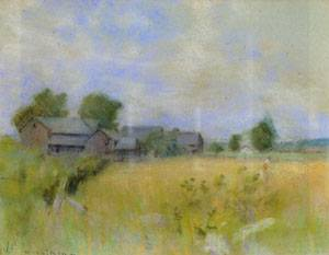Pasture with Barns Cos Cob | John Henry Twachtman | Oil Painting