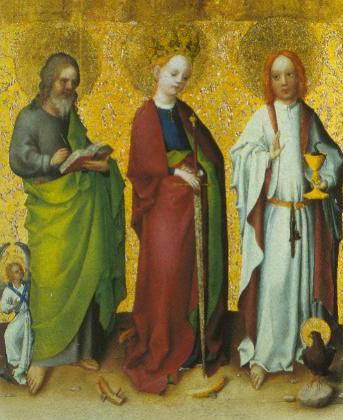 Saints Matthew Catheerine Of Alexandria And John The Evangelist 1445 | Stephan Lochner | Oil Painting