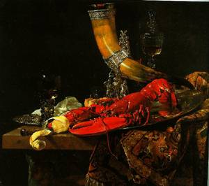Still Life With The Drinking-Horn Of The Saint Sebastian Archers Guild Lobster And Glasses 1653 | Willem Kalf | Oil Painting