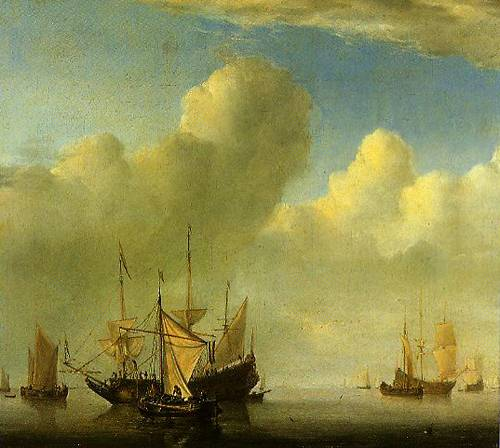 Calm A Dutch Ship Coming To Anchor And Another Under Sail 1657 | Willem Van De Velde The Younger | Oil Painting