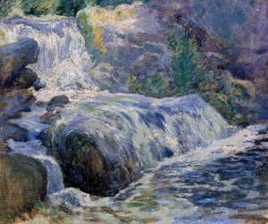 Waterfall Blue Brook 1895-1900 | John Henry Twachtman | Oil Painting