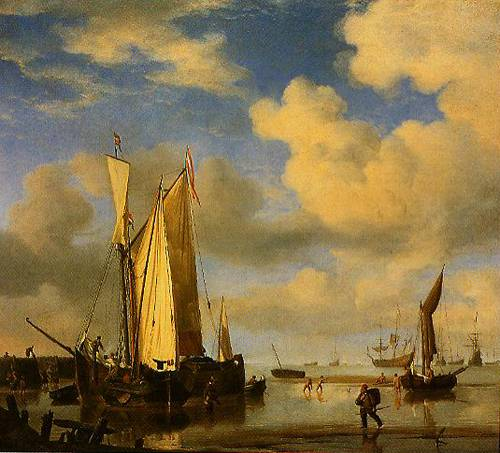 Dutch Vessels Close Inshore At Low Tide And Men Bathing 1661 | Willem Van De Velde The Younger | Oil Painting