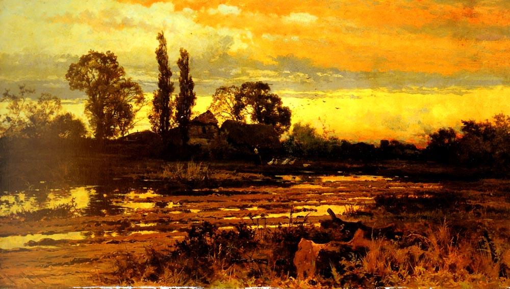 SunSet A Figure Feeding Geese In A Marsh | John Horace Hooper | Oil Painting