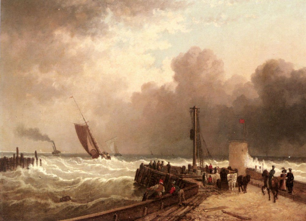 Shipping Approaching The Harbour Mouth In A Rough Sea   John Jock Wilson   Oil Painting