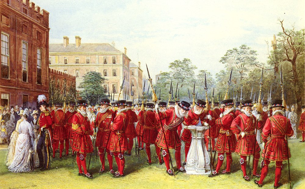 The Parade Of The Yeomen of the Guard at Clarence House | Nicholas Chevalier | Oil Painting