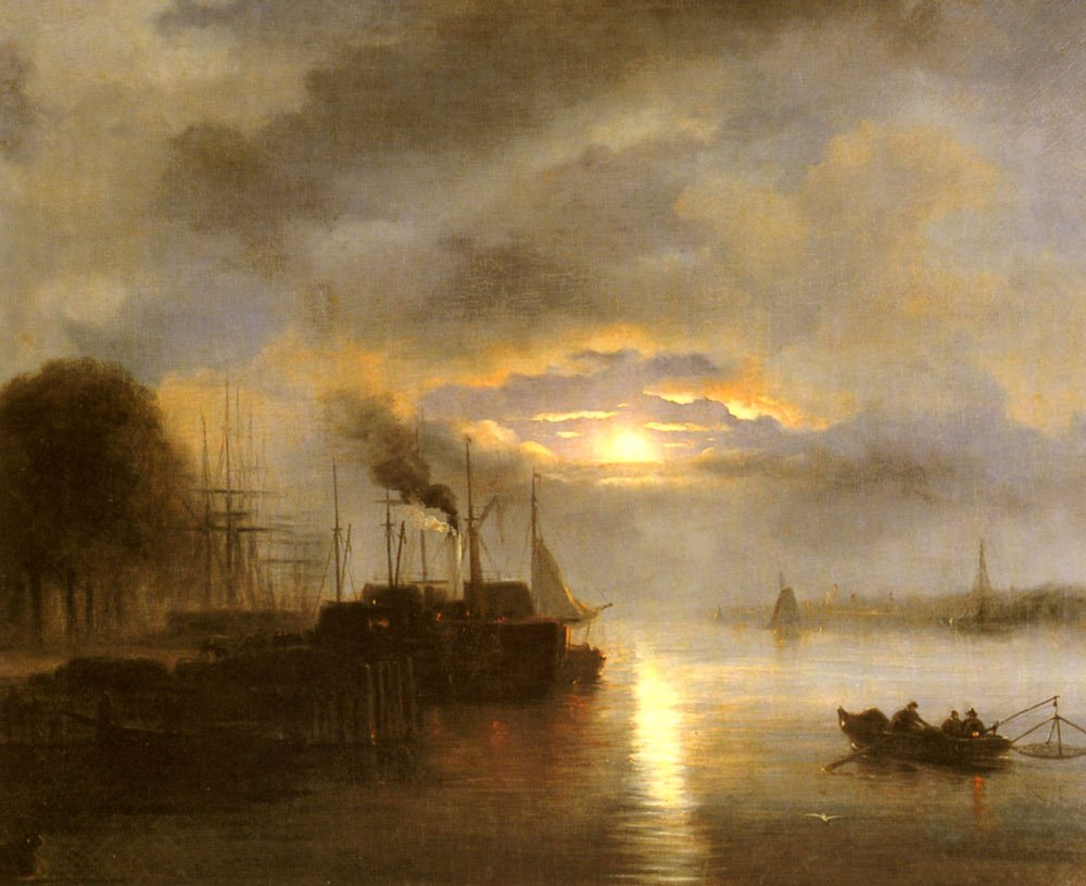 Vessels Before A Harbour Town By Moonlight Possibly Rotterdam | Nicolaas Johannes Roosenboom | Oil Painting