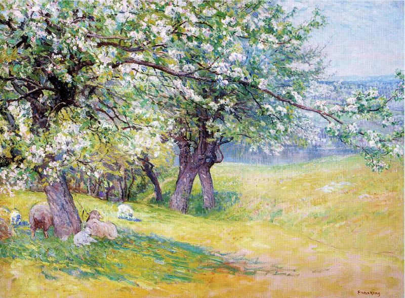 Sheep under the Apple Blossoms | John Joseph Enneking | Oil Painting