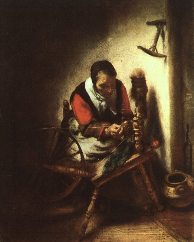 A Woman Spinning 1655 | Nicolaes Maes | Oil Painting