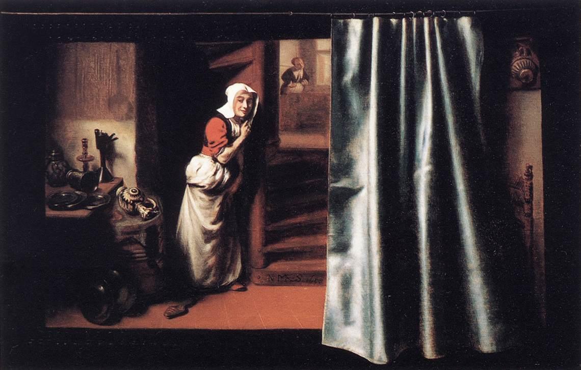 Eavesdropper With A Scolding Woman 1655 | Nicolaes Maes | Oil Painting
