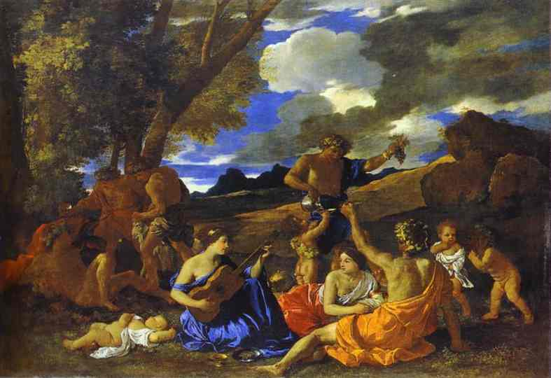 Andrians Or The Great Bacchanal With Woman Playing A Lute 1628 | Nicolas Poussin | Oil Painting