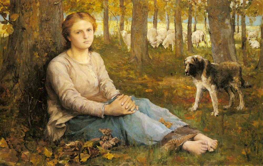 A Shepherdess And Her Flock | John Macallan Swan | Oil Painting