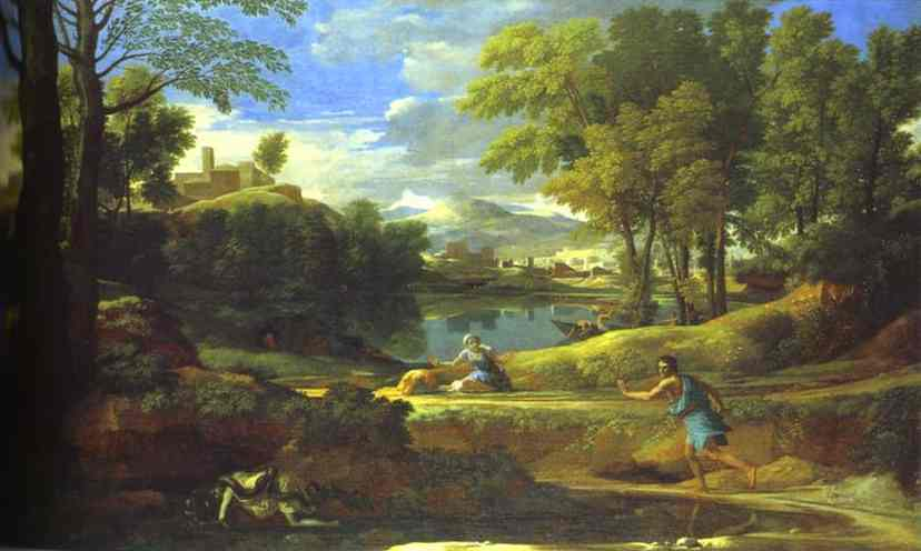 Landscape With A Man Running From Serpent 1648 | Nicolas Poussin | Oil Painting