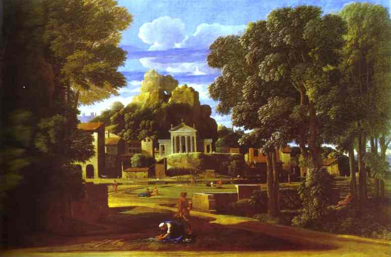 Landscape With The Cinders Of Phocion 1647   Nicolas Poussin   Oil Painting