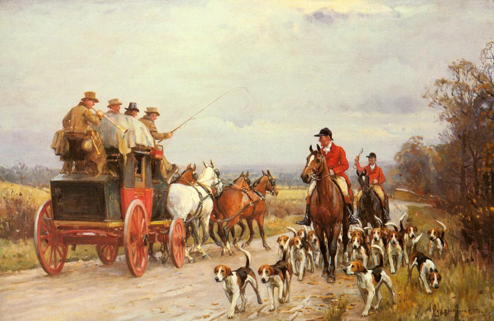A Hunt Passing a Coach | John Sanderson Wells | Oil Painting