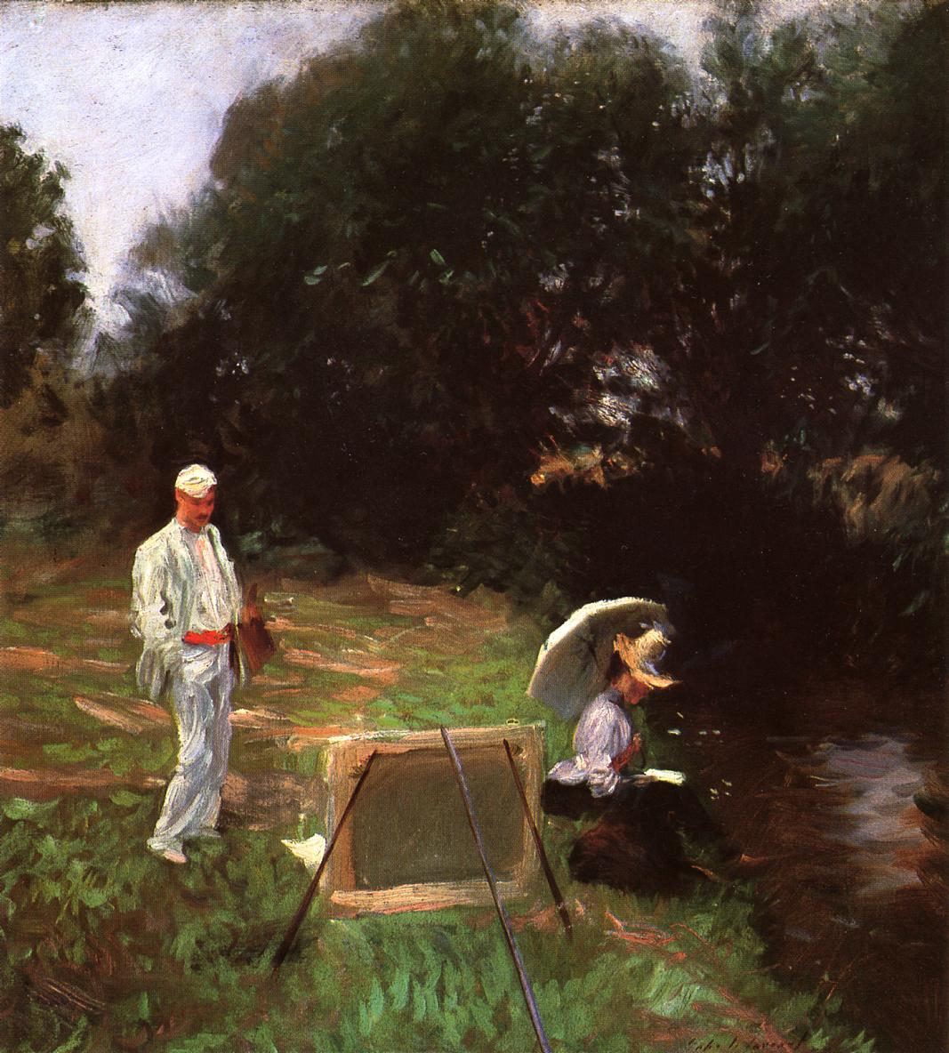 Dennis Miller Bunker Painting at Calcot 1888 | John Singer Sargent | Oil Painting