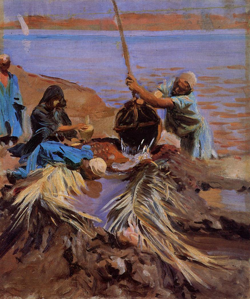 Egyptians Raising Water from the Nile 1890-1891 | John Singer Sargent | Oil Painting