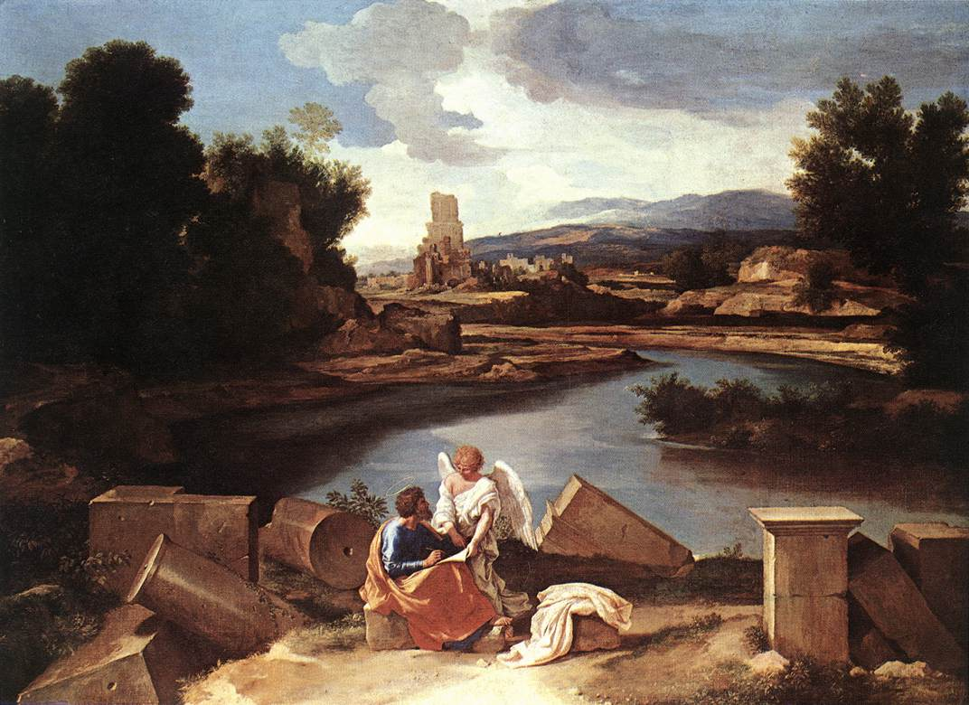 Landscape With St Matthew And The Angel C1645   Nicolas Poussin   Oil Painting