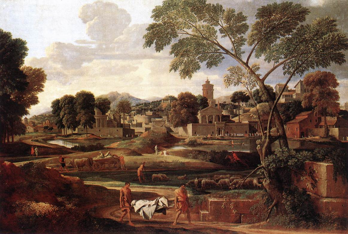 Landscape With The Funeral Of Phocion 1648   Nicolas Poussin   Oil Painting