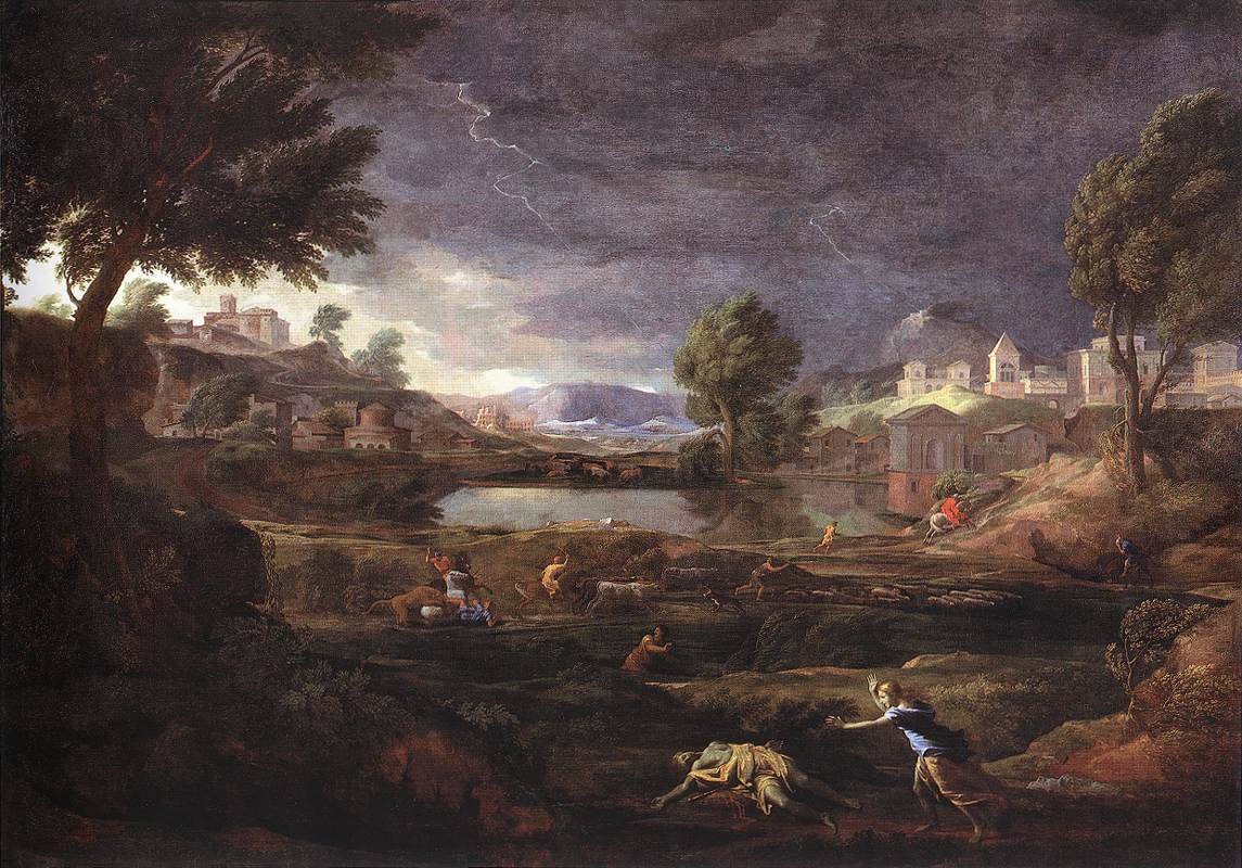 Strormy Landscape With Pyramus And Thisbe 1651 | Nicolas Poussin | Oil Painting