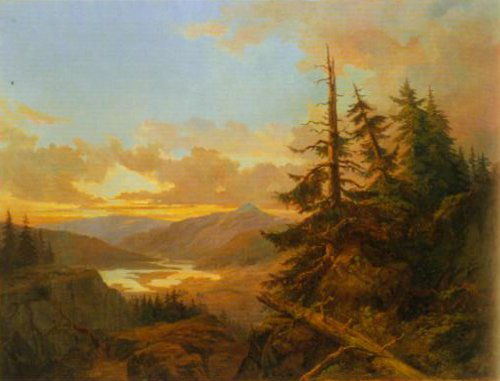Norwegian Landscape at Dawn 1863 | Charles XV | Oil Painting