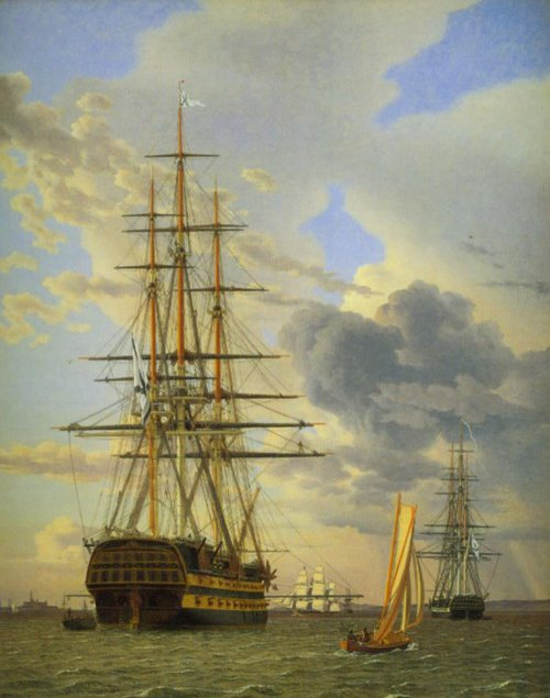 Asow a Russian Ship of the Line together with a Frigate riding at Anchor at Elsinore 1828 | C.w.Eckersberg | Oil Painting