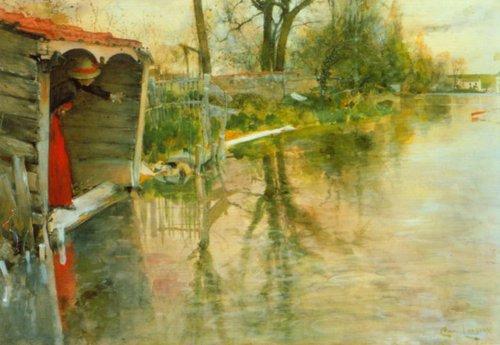 Grez sru Loing 1887   Carl Larsson   Oil Painting