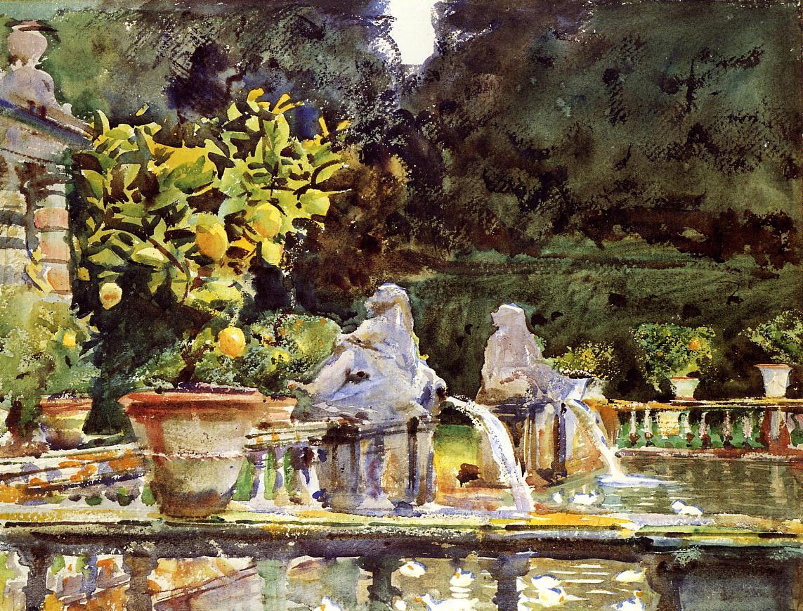 Villa de Marlia A Fountain 1910 | John Singer Sargent | Oil Painting