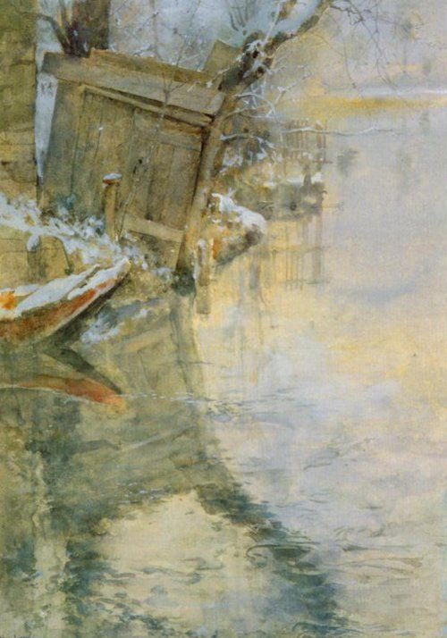 Washhouse By The River Loing   Carl Larsson   Oil Painting