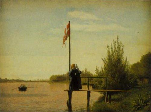 View from Dosseringen at Lake Sortedam towards Norrebro 1838   Christen Kobke   Oil Painting