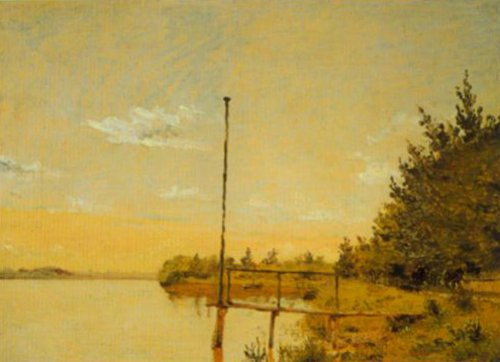 View from Dosseringen at Lake Sortedam towards Norrebro 1838 | Christen Kobke | Oil Painting
