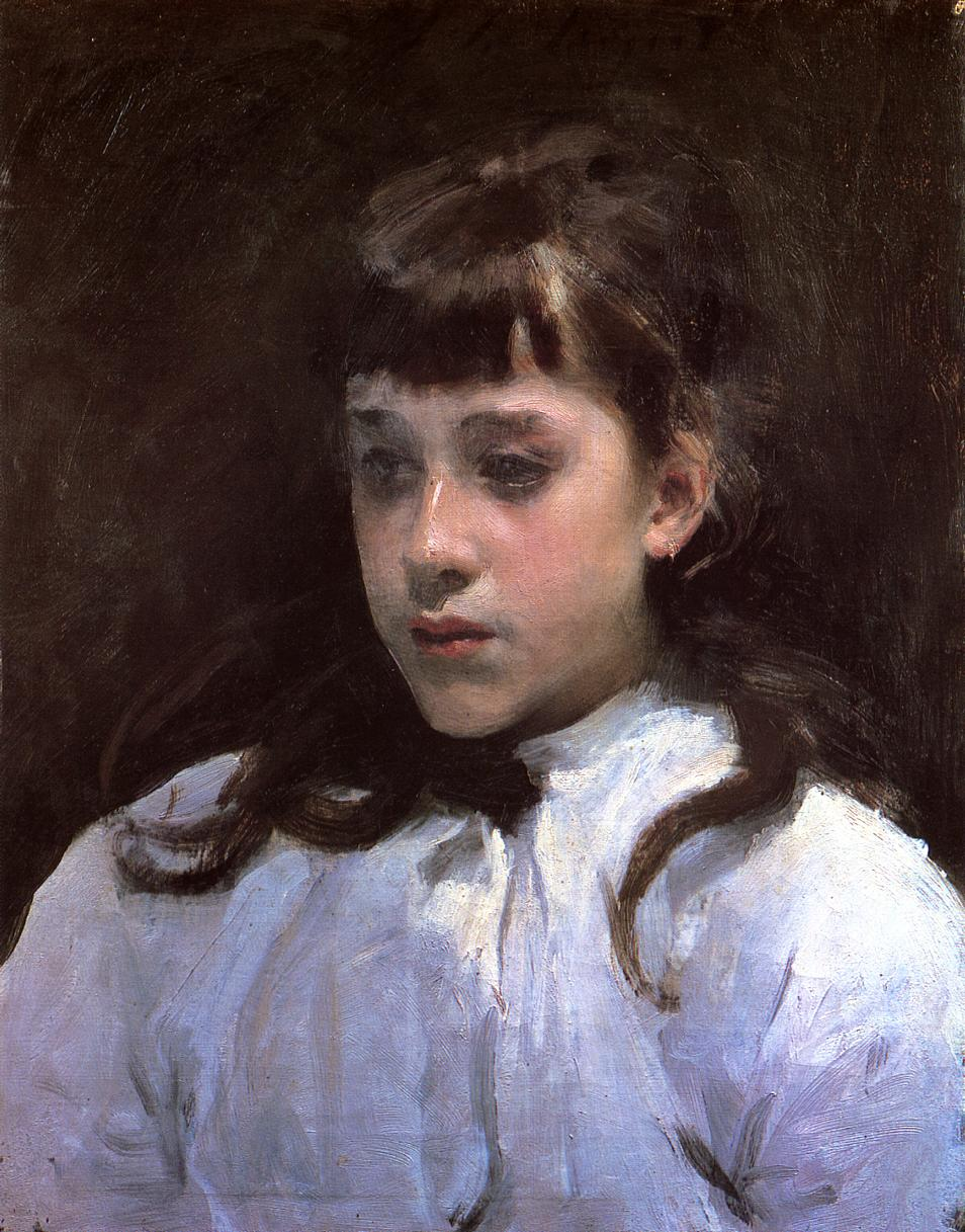 Young Girl Wearing a White Muslin Blouse 1885 | John Singer Sargent | Oil Painting