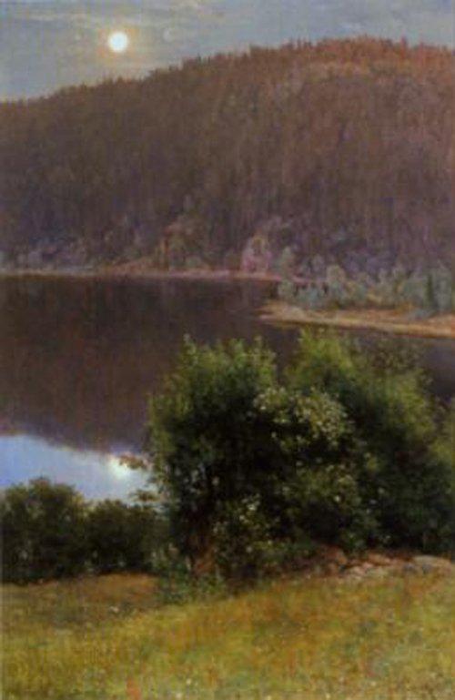 Summer Night Moonlight in Nordmarken 1884 | Christian Skredsvig | Oil Painting
