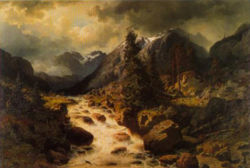 Landscape with a Waterfall in the Canton of Uri Switzerland 1858 | Edvard Bergh | Oil Painting