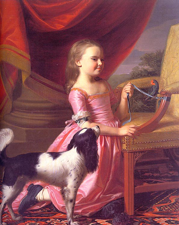 Young Lady With A Bird And Dog 1767 | John Singleton Copley | Oil Painting