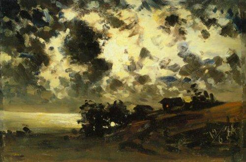 Moonlight(Study) 19 June 1878 | Fanny Churberg | Oil Painting