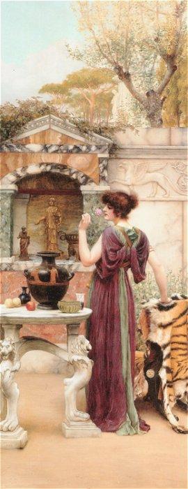 At The Garden Shrine Pompeii  1892   John William Godward   Oil Painting