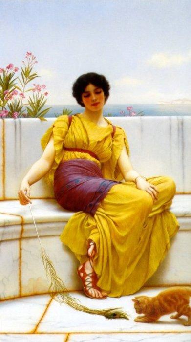 Idleness 1900   John William Godward   Oil Painting