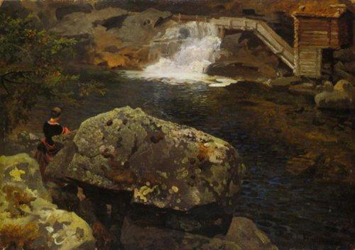 The Millpond 6 September 1850 | Hans Gude | Oil Painting