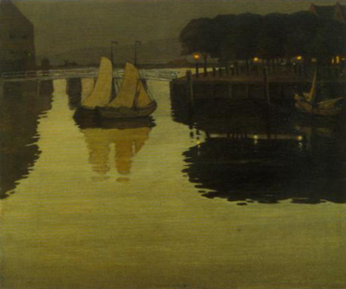 Quiet Evening in the Harbor at Hooorn 1893 | Johan Rohde | Oil Painting