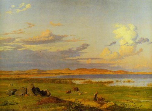 Landscape at Lake Arre with a View of the Shifting Sand Dunes at Tisvilde 1838 | Johan Thomas Lundbye | Oil Painting