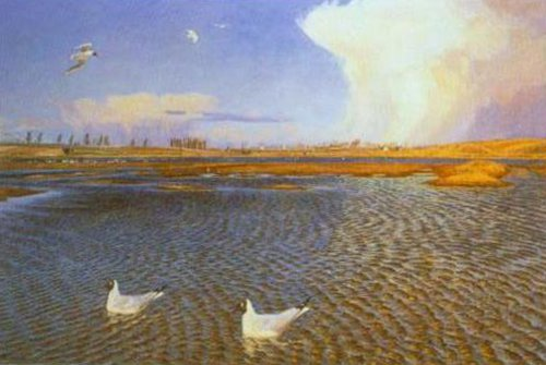Gusty Weather in April 1901 7 | Johannes Larsen | Oil Painting