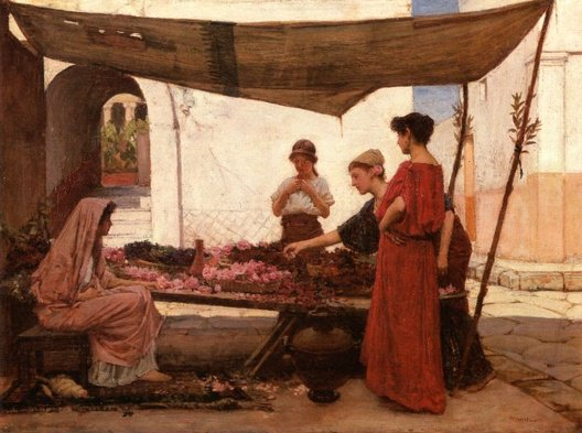 A Grecian Flower Market | John William Waterhouse | Oil Painting