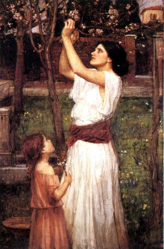 Gathering Almond Blossoms | John William Waterhouse | Oil Painting