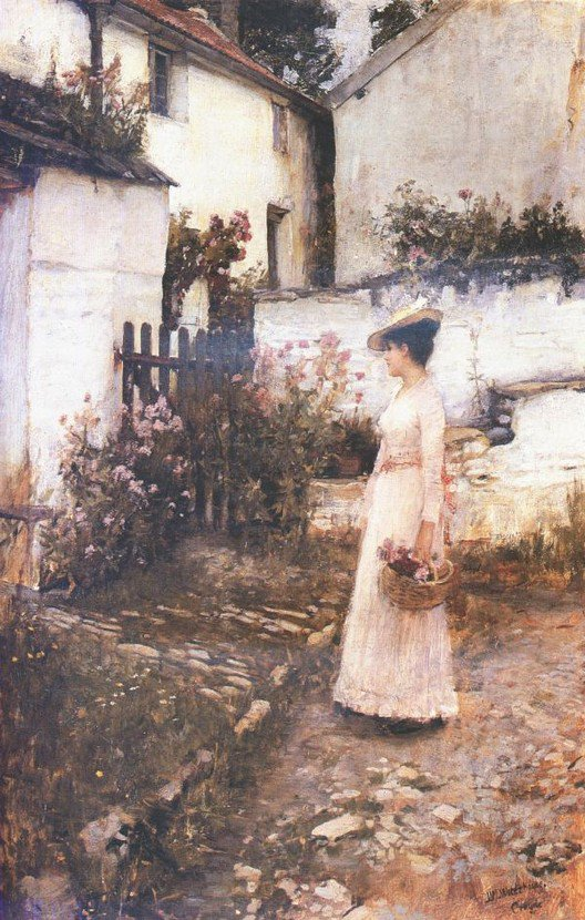 Gathering Summer Flowers In A Devonshire Garden | John William Waterhouse | Oil Painting