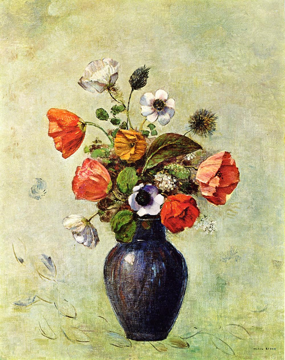 Anemones and Poppies in a Vase 1914 | Odilon Redon | Oil Painting