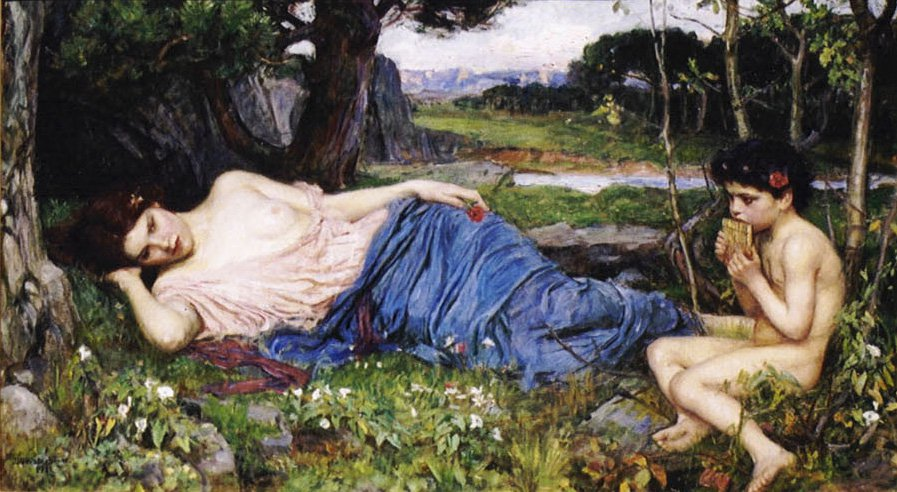 Listening To His Sweet Pipings | John William Waterhouse | Oil Painting
